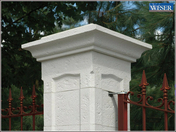 Chapeau pour pilier pierre reconstituée CHAMBORD 40x40cm haut.8cm coloris blanc - Planche de rive PVC cellulaire ép.9mm larg.200mm long.4m Sable - Gedimat.fr
