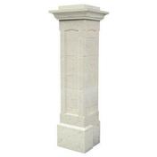 Elément bas pour pilier pierre reconstituée CHAMBORD coloris blanc - Tuile de ventilation MERIDIONALE + grille coloris brun - Gedimat.fr