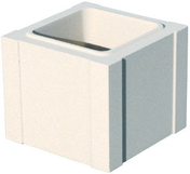 Elément de trumeau pierre reconstituée gamme OCEANE 25x25cm haut.16,7cm coloris blanc - Fronton pour faîtière 1/2 ronde à recouvrement coloris terre de Beauce - Gedimat.fr