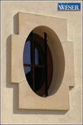 Oeil de boeuf ovale pierre reconstituée 60x90cm coloris pierre - Porte d'entrée Aluminium BEA avec isolation totale de 160mm droite poussant haut.2,00m larg.90cm laqué gris - Gedimat.fr