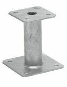 Pied de poteau fixe acier galvanisé à chaud haut.150mm - Porte d'entrée Aluminium XOEN avec isolation totale de 120mm droite poussant haut.2,00m larg.90cm laqué gris - Gedimat.fr