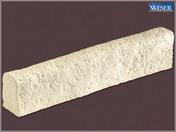 Bordure pierre reconstituée RICHELIEU ép.10cm haut.7cm long.50cm coloris champagne - Bande de chant pré-encollée larg.4,4cm long.65cm ép.3mm décor lamellé gris clair - Gedimat.fr