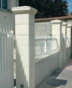 Elément de pilier pierre reconstituée AMBOISE 40x40 haut.28cm coloris blanc - Kit 3 lambourdes pour MODULESCA - Gedimat.fr