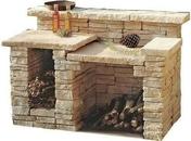 Barbecue GERONIMO HADRIEN en pierre reconstituée haut.0,95m larg.0,60m long.1,30m coloris Gironde - Calotte 3 ouvertures rondes coloris brun rustique - Gedimat.fr