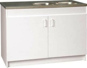 Meuble sous évier 3 portes mélaminé larg.60cm long.120cm coloris blanc - Miroir argent rond adhésif bords polis ép.4mm diam.42cm - Gedimat.fr