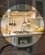 Crédence larg.58,5cm long.2,9m ép.13mm décor lamellé gris clair - Meuble de cuisine CACHEMIRE armoire four micro-ondes et 2 portes haut.200cm larg.60cm - Gedimat.fr