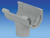 Naissance centrale à coller pour gouttière PVC de 16 coloris gris clair - Kit de fixation anodisé naturel - Gedimat.fr