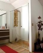 Porte coulissante droite 2 élements ALESIA haut.2m long.1,42m profilés blanc verre transparent - Portes - Parois de douche - Salle de Bains & Sanitaire - GEDIMAT