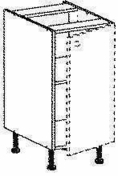 Meuble de cuisine AGATHA bas 1 porte haut.70cm larg.40cm + pieds réglables de 12 à 19cm décor métal blanc laqué - Meuble de cuisine AGATHA bas 3 tiroirsdont 2 casseroliers haut.70cm larg.40cm + pieds réglables de 12 à 19cm - Gedimat.fr
