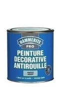 Peinture décorative antirouille CORONA HAMMERITE PRO aspect martelé coloris cuivre 1L - Planche Sapin/Epicéa peinte en rouge section 32x150mm long.4,00m - Gedimat.fr