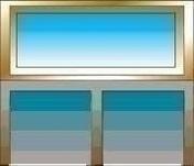 Imposte bois exotique ELENA haut.40cm larg.1,00m - Porte fenêtre bois exotique lamellé collé sans aboutage 2 vantaux ouvrant à la française. Soubassement serrure. Vitrage transparent haut.2,05m larg.1,00m - Gedimat.fr