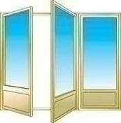 Porte fen�tre bois exotique lamell� coll� sans aboutage 3 vantaux ouvrant � la fran�aise. Soubassement serrure. Vitrage transparent haut.2,25m larg.1,80m - Fen�tres - Portes fen�tres - Menuiserie & Am�nagement - GEDIMAT