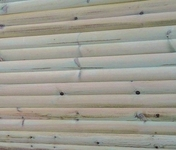 Lame en bois (Pin du Nord) pour clôture H bombée Classe 4 ép.28mm larg.14,5cm long.2,00m brune - Calotte 3 ouvertures rondes coloris mediterranea - Gedimat.fr