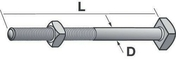 Boulon tête carrée acier galvanisé à chaud diam.16mm long.18cm - Kit de 50 fixations pour panneau tuile PVC antique - Gedimat.fr