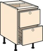 Meuble de cuisine CACHEMIRE bas 2 tiroirs casserolier + 1 tiroir, haut.70cm larg.80cm + pieds réglables de 12 à 19cm - Panneau de Particule Surfacé Mélaminé (PPSM) ép.19mm larg.2,07m long.2,80m Hêtre Fayard finition Légère structure bois - Gedimat.fr