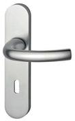 Ensemble de poign�es de porte TOKYO sur plaque aluminium anodis� aspect inox avec trou de cl� - Profil PVC raccord clipsable pour lambris �p.8 � 10mm long.2,60m blanc - Gedimat.fr