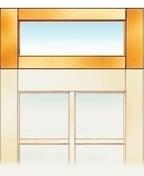 Imposte à vitrer bois exotique pour porte de service haut.30cm larg.90cm - Porte fenêtre bois exotique lamellé collé sans aboutage 1 vantail ouvrant à la française. Soubassement serrure. Vitrage transparent gauche tirant haut.2,15m larg.90cm - Gedimat.fr