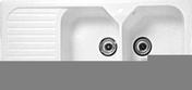 Evier à encastrer 1 bac 1/2 + 1 égouttoir GARRIGUE en grès larg.50,5cm long.92cm blanc - Plinthe de cuisine BOIS SCIE BLANC en stratifiée ép.19mm haut.15mm long.2,44m - Gedimat.fr