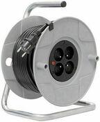 Enrouleur bricolage avec câble 30m HO5 VV-F3G1,5 et disjoncteur thermique - Boîte d'encastrement 1 poste pour cloison creuse diam.67mm prof.40mm coloris gris - Gedimat.fr