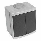 Interrupteur ou va et vient double étanche PERLE vendu sous film gris - Tableau électrique pré-équipé 3 rangées - Gedimat.fr
