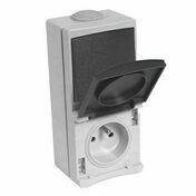 Prise de courant 2 pôles + terre 16A + interrupteur étanche PERLE vendue sous film gris - Fileur composant pour meuble d'angle GLOSS BLANC haut.70cm larg.15cm - Gedimat.fr