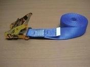 Sangle d'arrimage intérieur ceinturon avec cliquet larg.48mm long.5m coloris bleu - Bois Massif Abouté (BMA) Sapin/Epicéa traitement Classe 2 section 100x240 long.13m - Gedimat.fr