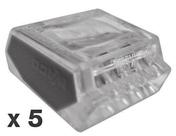 Borne de connexion électrique automatique capacité 5 conducteurs diam.1 à 2,5mm² en sachet de 5 pièces - Borne de connexion électrique automatique capacité 2 conducteurs diam.1 à 2,5mm² en sachet de 5 pièces - Gedimat.fr