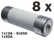 Cartouche fusible céramique cylindrique sans témoin de fusion 8 pièces assorties - Goujon à bague diam.8mm long.75mm 150 pièces - Gedimat.fr
