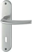 Ensemble de poignées de porte SAN DIEGO (en sachet pro) sur plaque en aluminium finition argent avec trou de clé - Chevêtre ULYSSE section 12x20 cm long.1.20m - Gedimat.fr