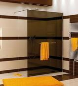 Paroi de douche fixe haut.2,00m long.120cm profil� mural chrom� verre transparent - Portes - Parois de douche - Salle de Bain & Sanitaire - GEDIMAT