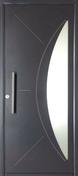 Porte d'entrée SONORA en aluminium gauche poussant haut.2,15m larg.90cm - Porte d'entrée LUCILLE Aluminium laqué gauche poussant haut.2,15m larg.90cm gris - Gedimat.fr