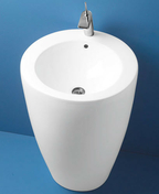 Lavabo TOTEM en porcelaine haut.85cm larg.51,5cm long.55cm blanc - Cabine carrée hydro JADE portes coulissantes haut.2,24m larg.90cm long.90cm acier - Gedimat.fr