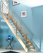Escalier droit en bois (hêtre) OSLO haut.2,80m larg.80cm avec rampe - Laine de verre en panneau roulé PURE ONE 35 QN non revêtue ép.150mm larg.56,5cm long.4,05m - Gedimat.fr
