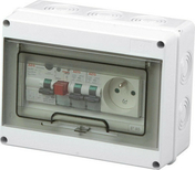 Coffret modulaire de distribution électrique étanche 1 rangée de 7 modules équipé d'un interrupteur différentiel et 2 disjoncteurs - Mécanisme va et vient blanc CASUAL - Gedimat.fr