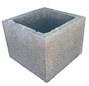Elément de pilier béton à enduire dim.ext.26x26cm haut.20cm - Pas japonais en Pierre bleu du Vietnam ép.3.5cm larg.32cm long.43cm - Gedimat.fr