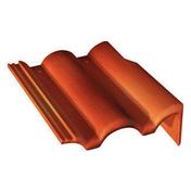 Tuile de rive droite universelle PLEIN CIEL coloris rouge sienne - Calotte 3 ouvertures rondes coloris paille - Gedimat.fr