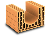 Brique terre cuite linteau-chaînage POROTHERM R37 ép.37,5cm haut.24,9cm long.25cm - Planelle de rive long.80cm ép.7cm haut.19cm - Gedimat.fr
