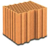 Brique terre cuite de calepinage horizontal POROTHERM R30 ép.30cm haut.24,9cm long.25cm - Panneau de Particule Surfacé Mélaminé (PPSM) ép.19mm larg.2,07m long.2,80m Prunier Perse finition Velours Bois poncé - Gedimat.fr