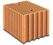 Brique terre cuite base POROTHERM R30 ép.30cm haut.24,9cm long.37,3cm - Panneau de Particule Surfacé Mélaminé (PPSM) ép.19mm larg.2,07m long.2,80m Prunier Perse finition Velours Bois poncé - Gedimat.fr