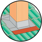 Abergement réglable de 30 à 60cm en zinc naturel avec bavette plomb rouge - About d'arêtier pour faîtière angulaire TERREAL coloris vieille terre - Gedimat.fr
