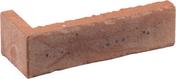 Plaquette d'angle en terre cuite long.22cm larg.10,5cm haut.5,4cm ép.1,5cm ligne étirée flammée coloris terre de rose - Tuile de rive verticale droite TBF coloris grenat - Gedimat.fr
