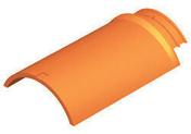 Arêtier de ventilation pour tuiles TERREAL coloris brun rustique - Demi-tuile à rabat droite à emboitement BEAUVOISE coloris terre de Beauce - Gedimat.fr