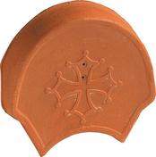 Fronton croix occitane pour faîtière à pureau variable et rives rondes coloris rouge - Arroseur SOUCOUPE statique TEC 3 - Gedimat.fr