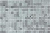 Emaux de verre de 2,5x2,5cm pour mur et piscine MAJESTIC sur trame de 31,1x46,7cm coloris grey - Joint de carrelage PROLIJOINT SOL 542 sac de 5kg coloris gris - Gedimat.fr