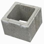 Elément de pilier béton gris dim.ext.27x27cm haut.19cm - Poubelle ronde 13L acier laqué blanc - Gedimat.fr