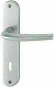 Ensemble de poignées de porte SAN DIEGO sur plaque en aluminium entraxe 165mm finition argent avec trou de clé - Décor GROOVY MULTICOLOR pour mur en faïence PLENITUDE larg.20cm long.60cm - Gedimat.fr