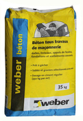 Béton prêt à l'emploi WEBER.BETON sac de 35kg - Enduit à joint PREGYLYS 95 sac de 25kg - Gedimat.fr