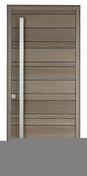 Porte d'entrée NATIV 3 en bois red cedar gauche poussant haut.2,15 larg.90cm avec barre de tirage - Fenêtre PVC blanc CALINA 1 vantail ouverture à la française droit tirant haut.95cm larg.80cm vitrage imprimé 4/16/4 basse émissivité - Gedimat.fr