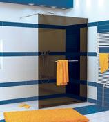 Paroi de douche fixe haut.2,00m long.120cm profil� mural chrom� verre teint� noir - Portes - Parois de douche - Salle de Bain & Sanitaire - GEDIMAT