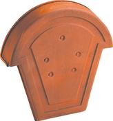 Fronton pour faîtière 1/2 ronde à recouvrement coloris amarante rustique - Courbe cuivre à souder femelle-femelle grand rayon 5002A angle 90° diam.28mm avec lien 1 pièce - Gedimat.fr